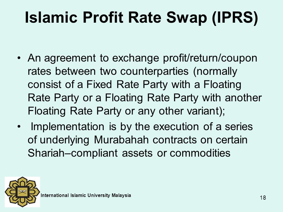 Islamic Profit Rate Swap (IPRS)