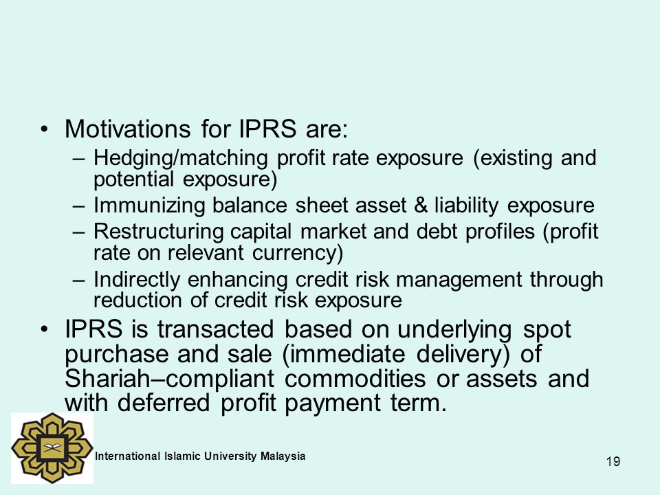 Motivations for IPRS are: