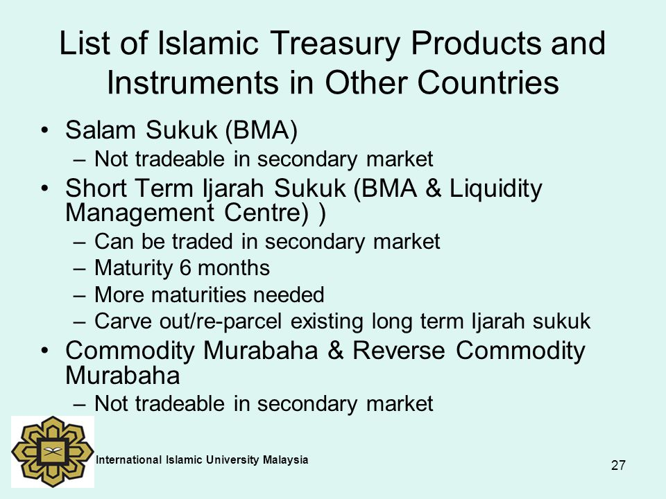 List of Islamic Treasury Products and Instruments in Other Countries