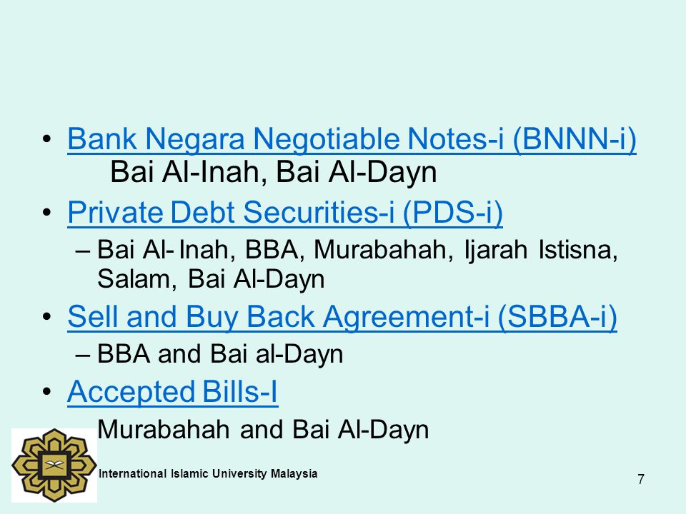 Bank Negara Negotiable Notes-i (BNNN-i) Bai Al-Inah, Bai Al-Dayn