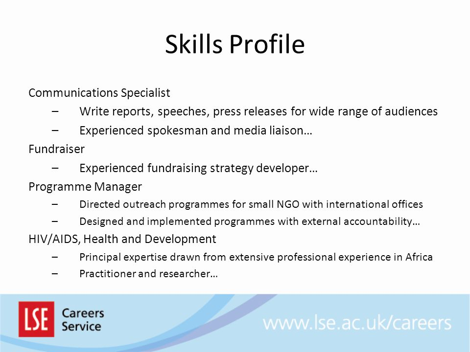 Skills Profile Communications Specialist