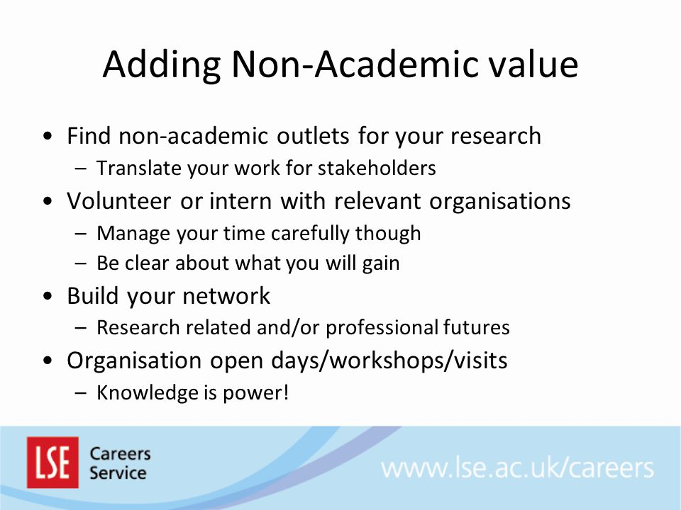 Adding Non-Academic value