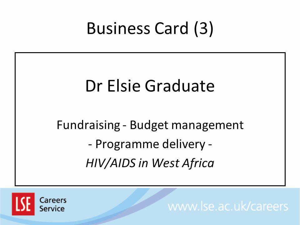 Business Card (3) Dr Elsie Graduate Fundraising - Budget management