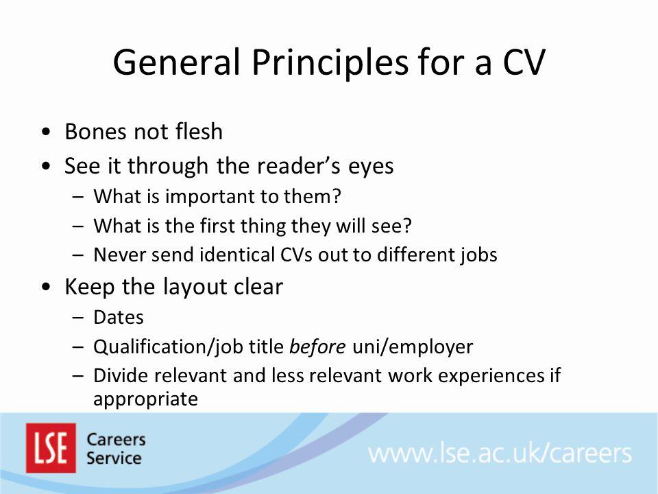 General Principles for a CV