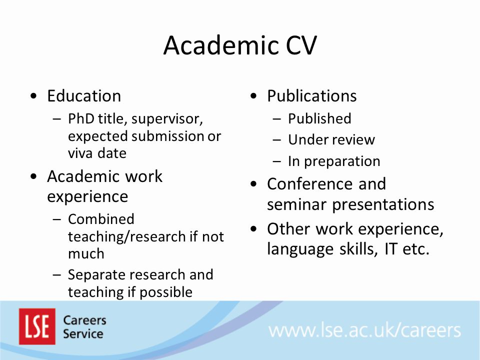 Academic CV Education Academic work experience Publications