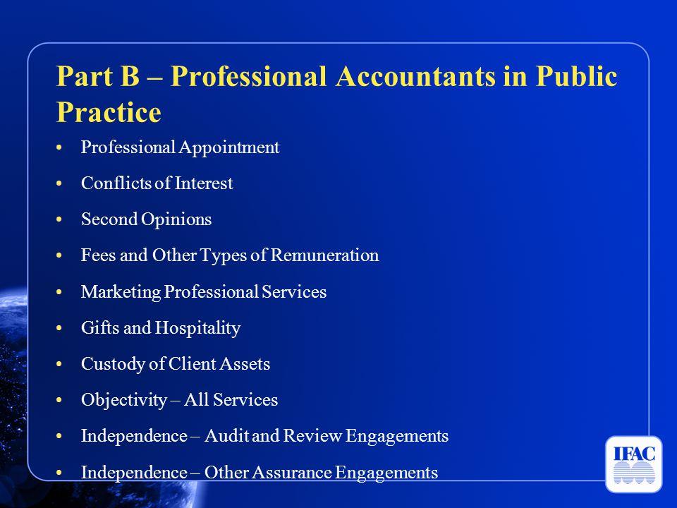Part B – Professional Accountants in Public Practice