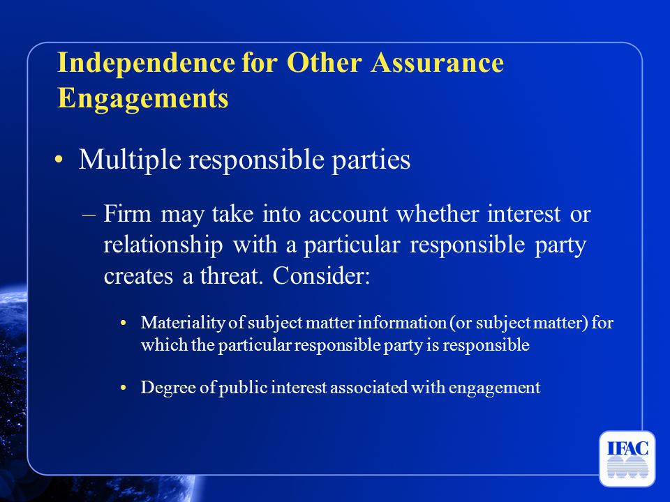 Independence for Other Assurance Engagements