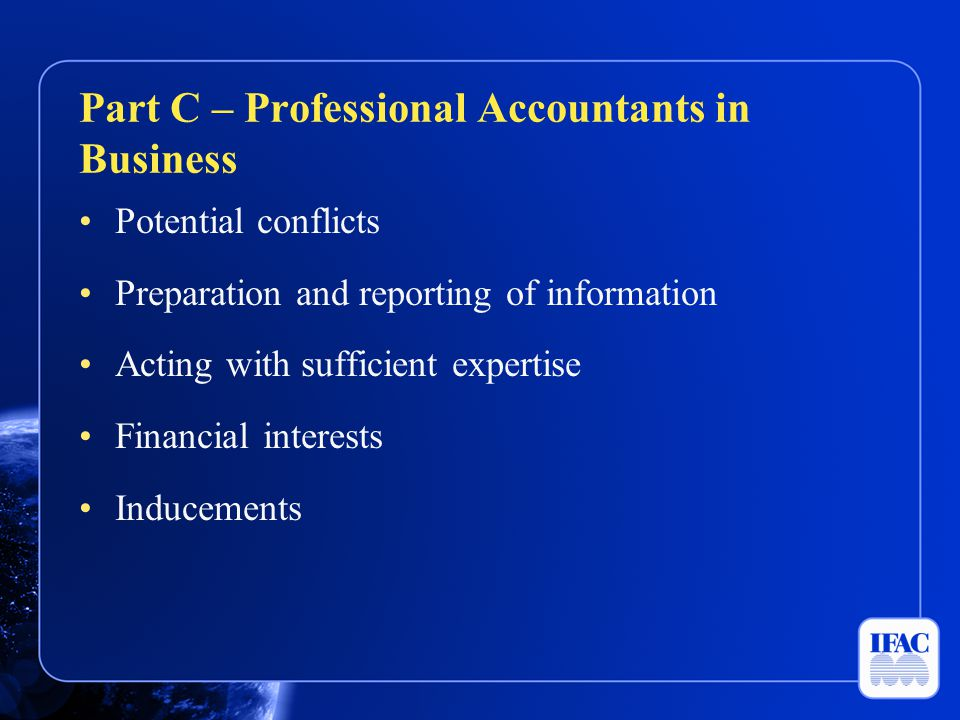 Part C – Professional Accountants in Business