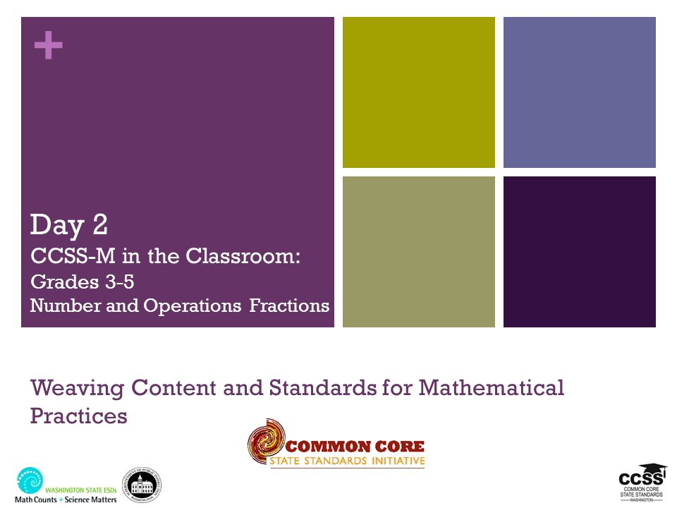 3/25/2017Day 2 CCSS-M in the Classroom: Grades 3-5 Number and Operations Fractions Weaving Content and Standards for Mathematical Practices.