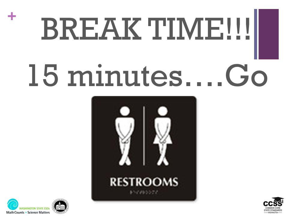 BREAK TIME!!! 15 minutes….Go