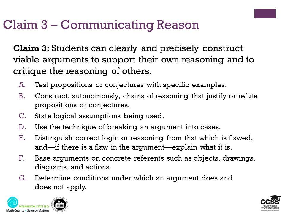 Claim 3 – Communicating Reason