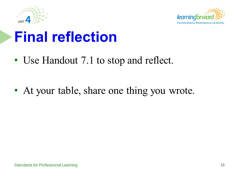 Final reflection Use Handout 7.1 to stop and reflect.