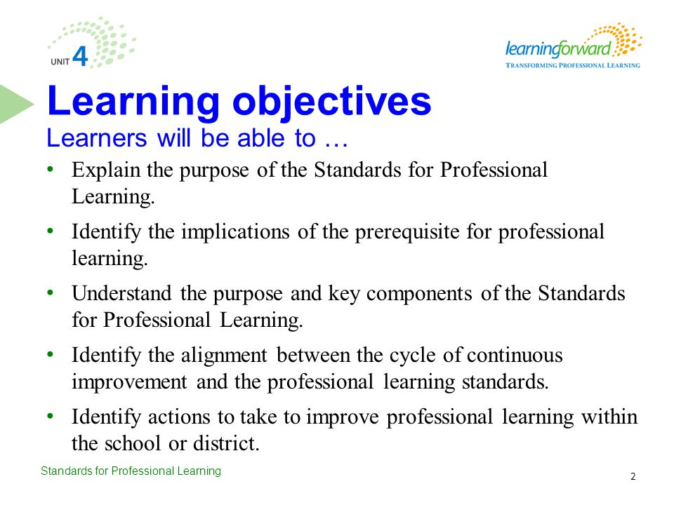 Learning objectives Learners will be able to …