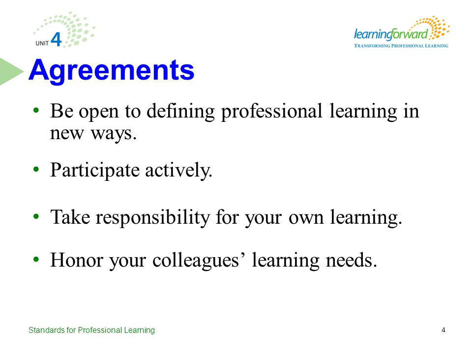 Agreements Be open to defining professional learning in new ways.