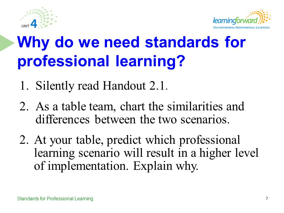 Why do we need standards for professional learning