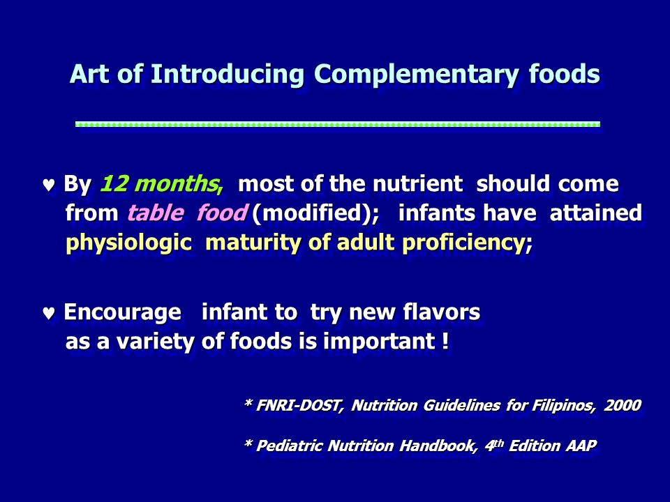 Art of Introducing Complementary foods