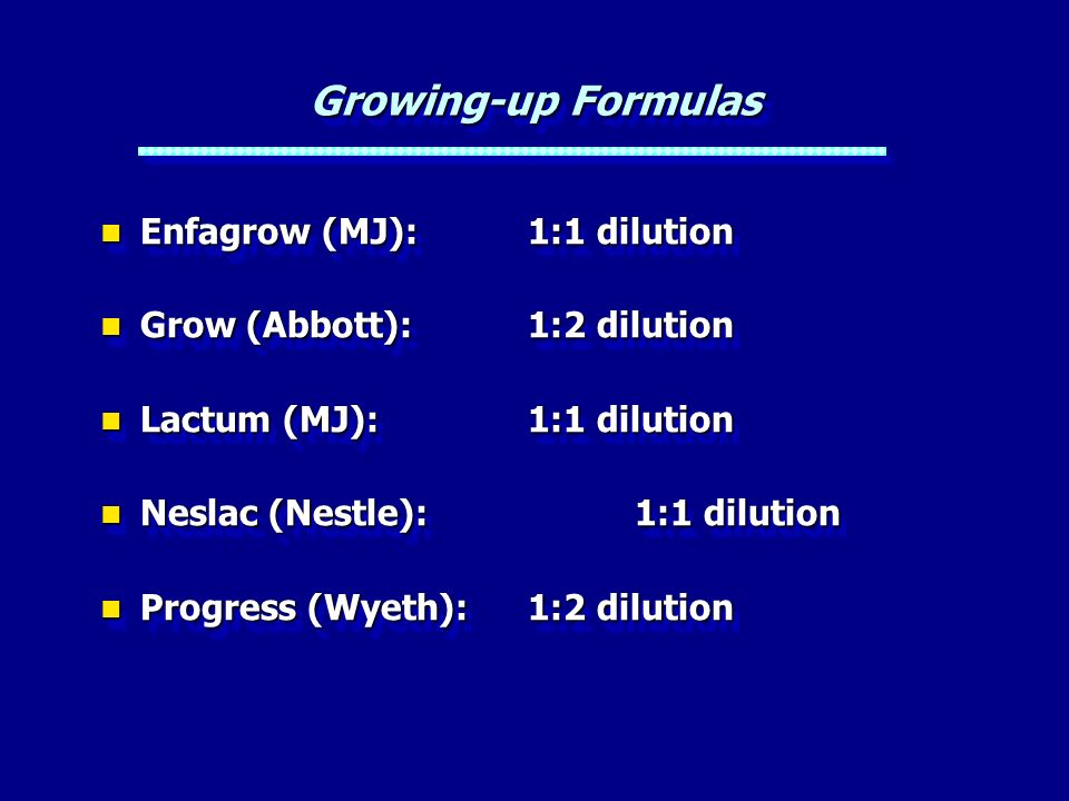 Growing-up Formulas Enfagrow (MJ): 1:1 dilution
