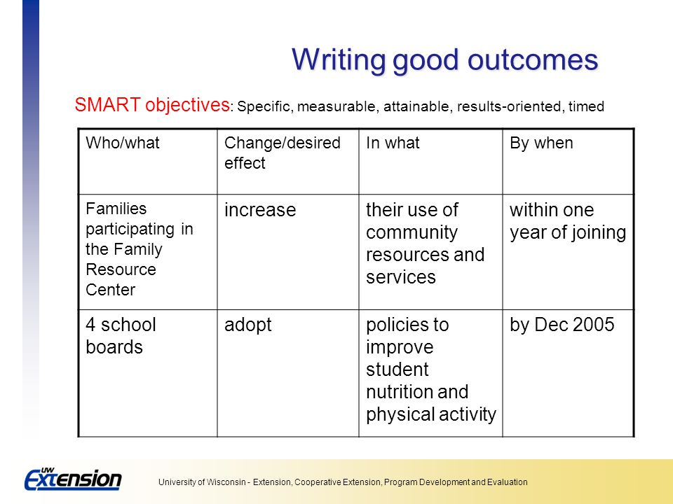 Writing good outcomes SMART objectives: Specific, measurable, attainable, results-oriented, timed. Who/what.