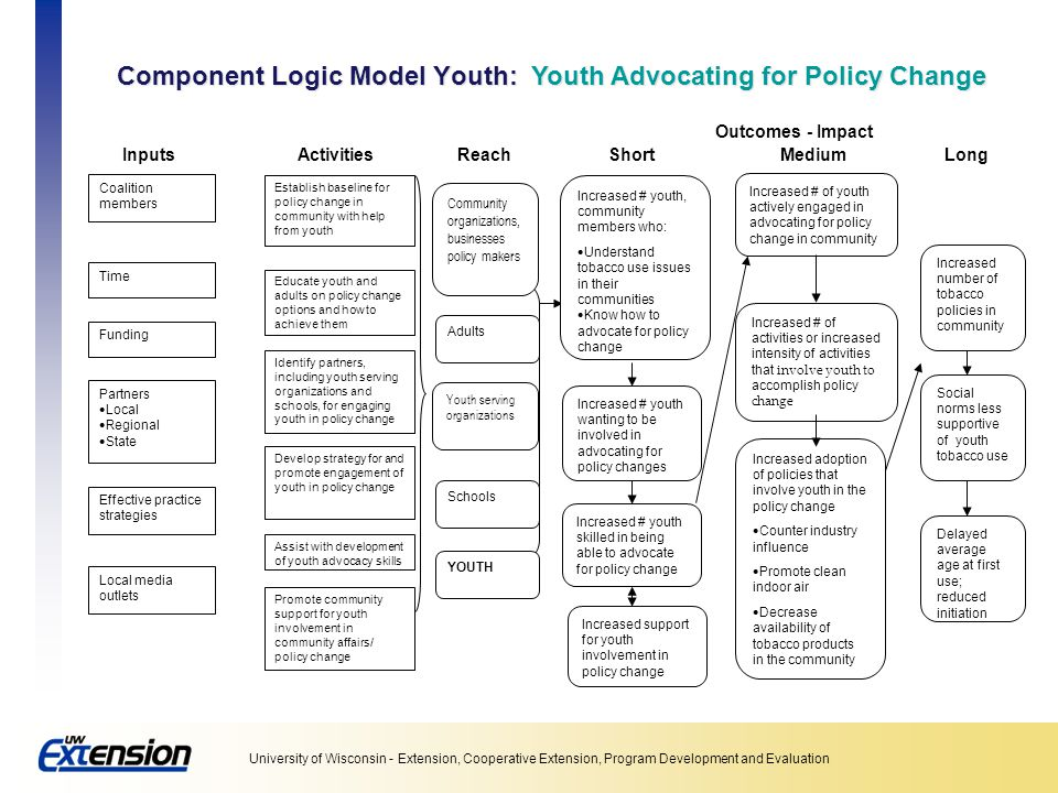 Component Logic Model Youth: Youth Advocating for Policy Change
