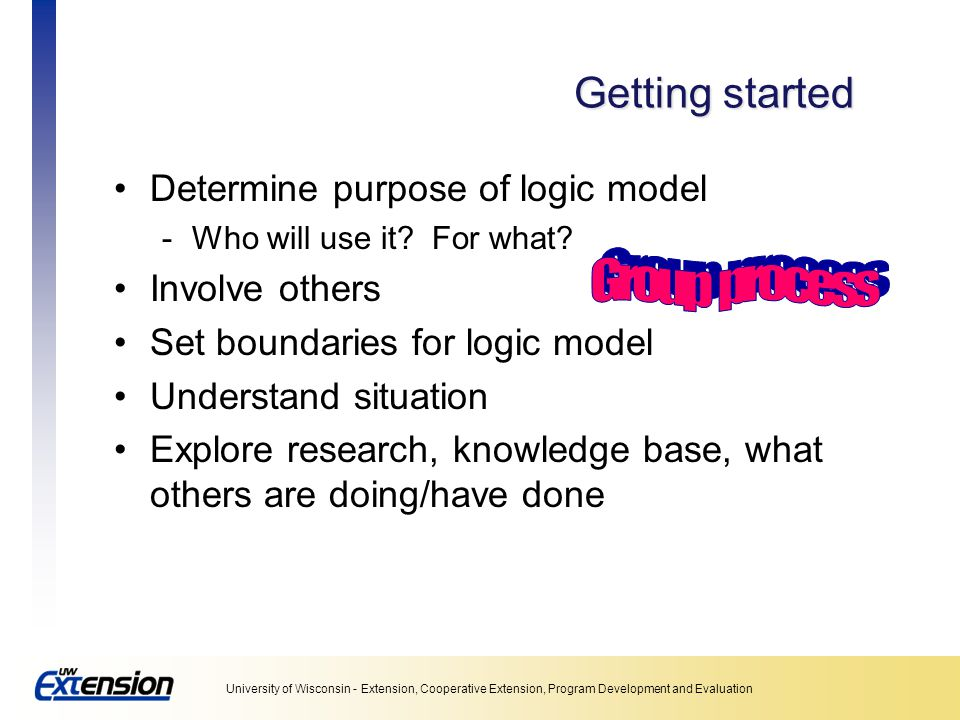 Getting started Determine purpose of logic model Involve others