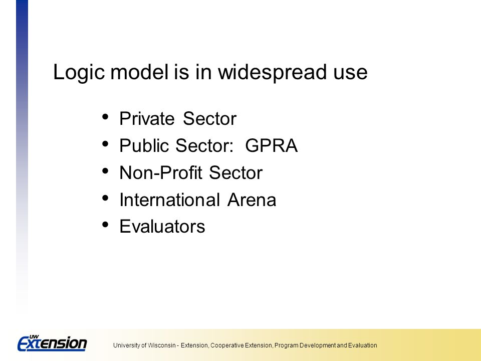 Logic model is in widespread use