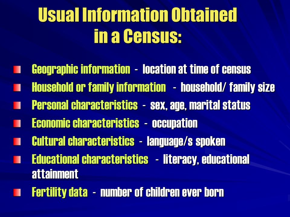 Usual Information Obtained in a Census: