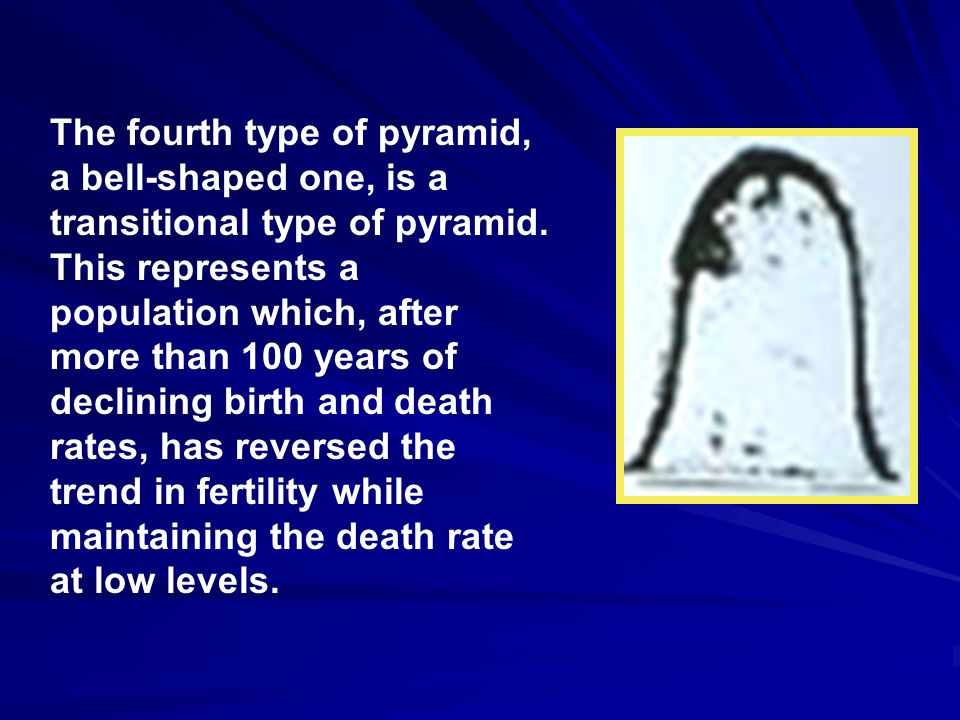The fourth type of pyramid, a bell-shaped one, is a transitional type of pyramid.