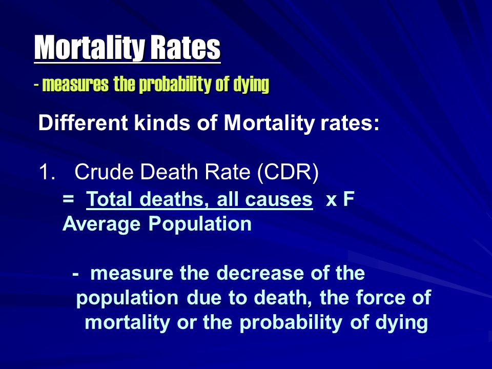Mortality Rates - measures the probability of dying