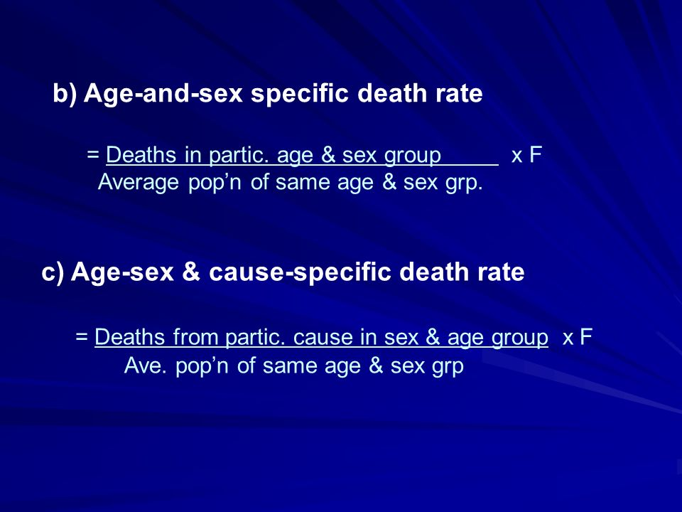 b) Age-and-sex specific death rate