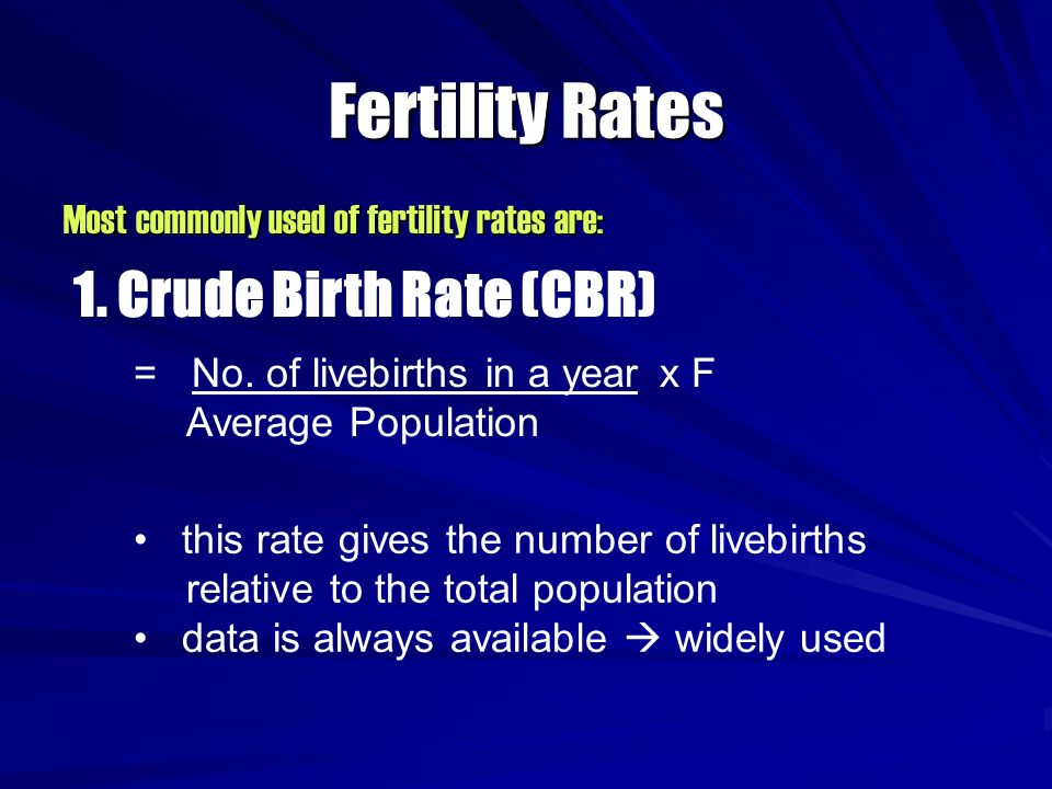 Fertility Rates 1. Crude Birth Rate (CBR)