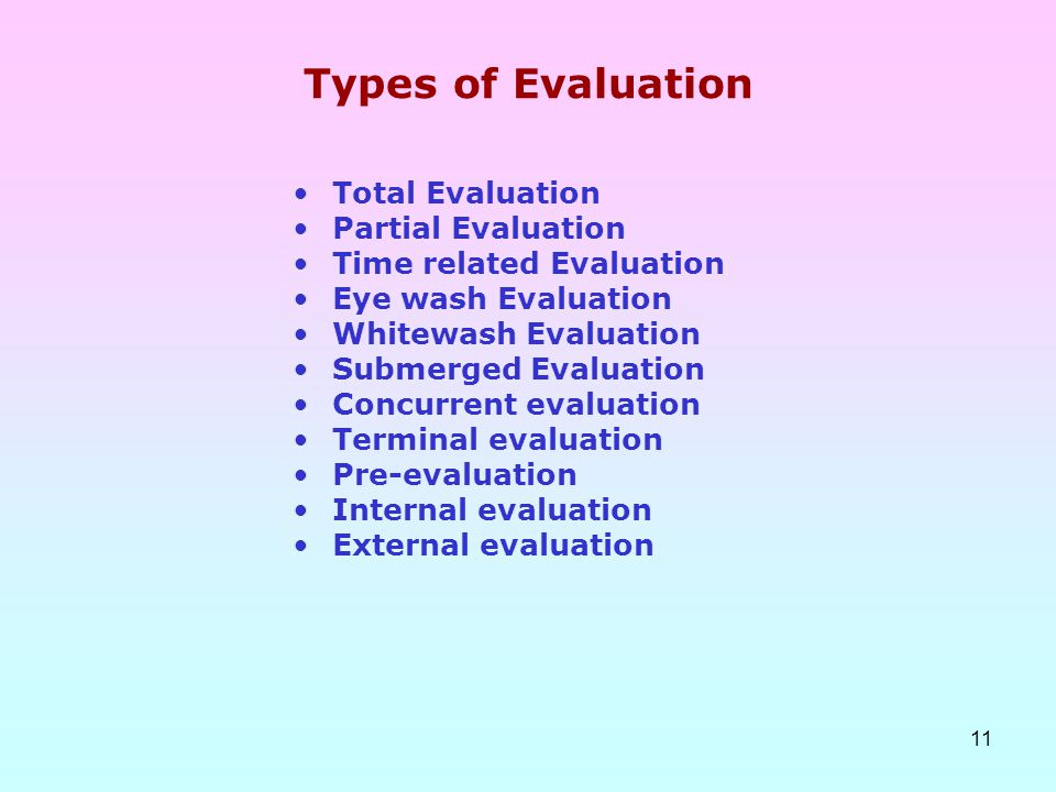 Types of Evaluation Total Evaluation Partial Evaluation