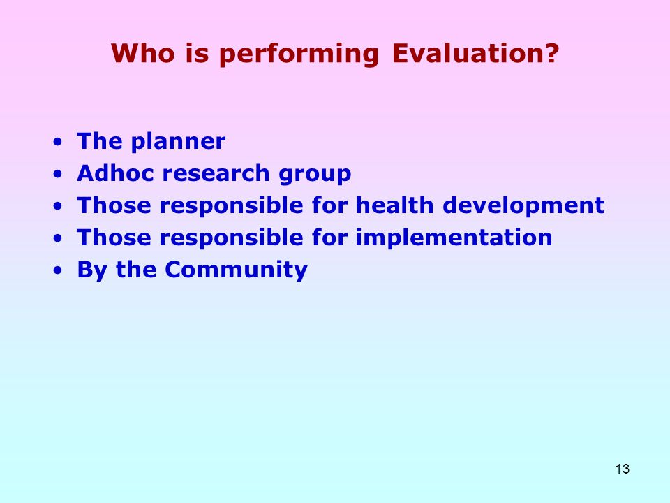 Who is performing Evaluation