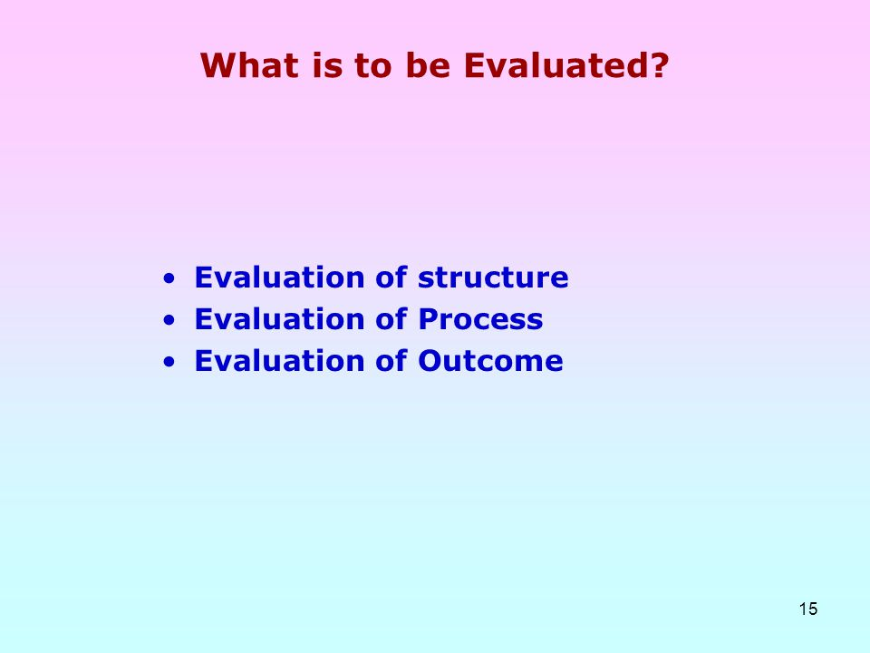 What is to be Evaluated Evaluation of structure Evaluation of Process