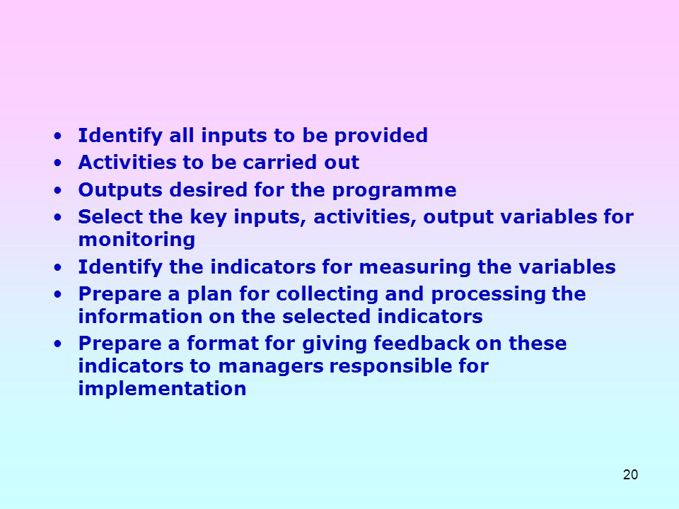 Identify all inputs to be provided