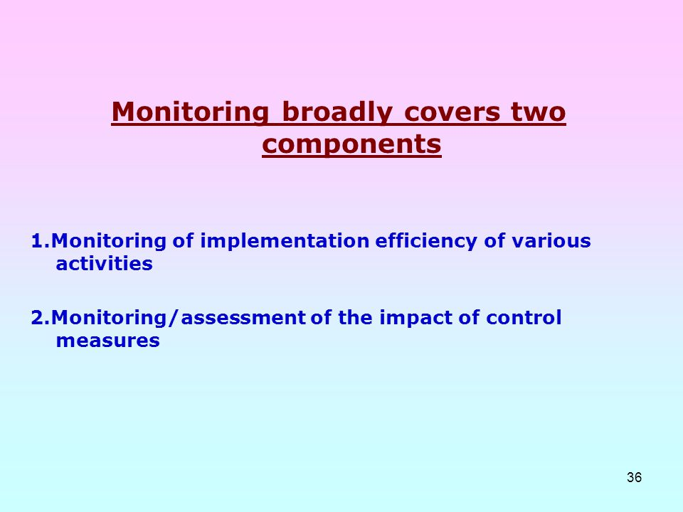 Monitoring broadly covers two components