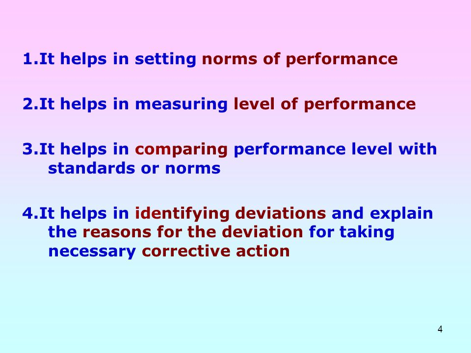 1.It helps in setting norms of performance