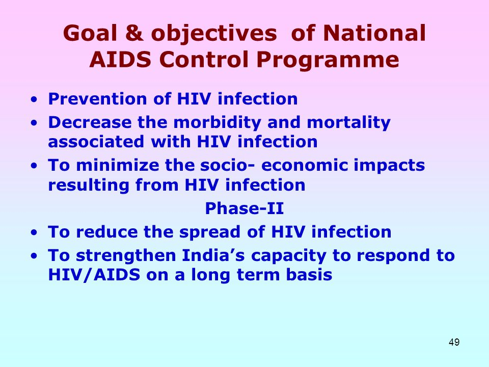Goal & objectives of National AIDS Control Programme