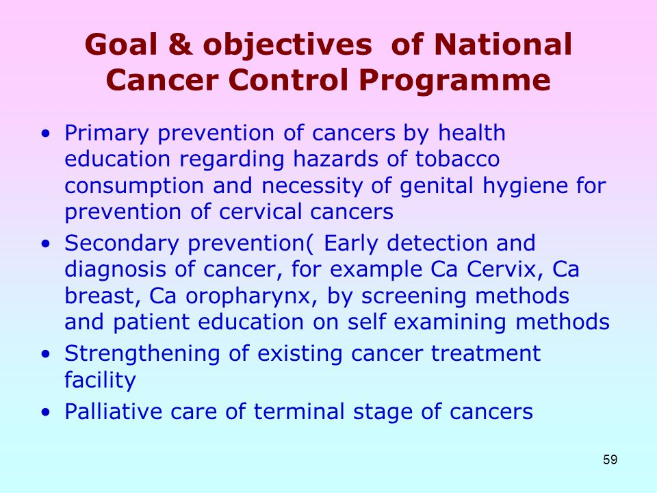 Goal & objectives of National Cancer Control Programme