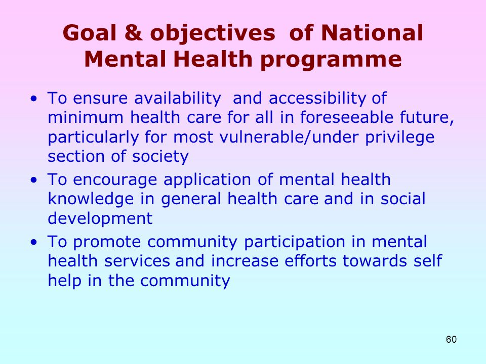 Goal & objectives of National Mental Health programme