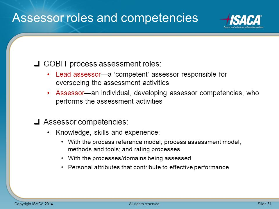Assessor roles and competencies