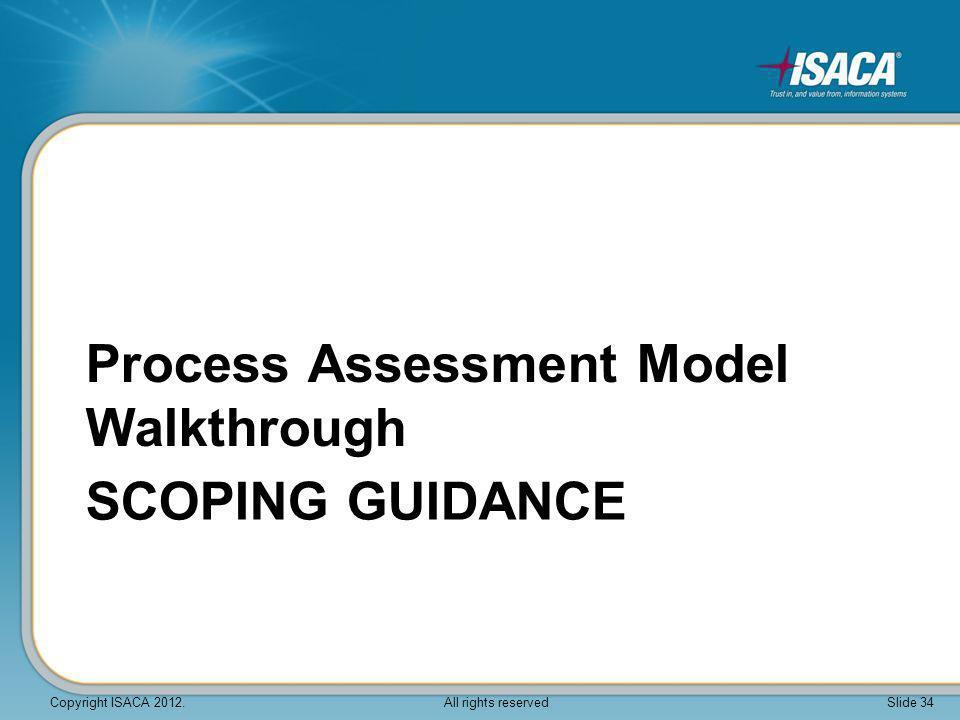 Process Assessment Model Walkthrough