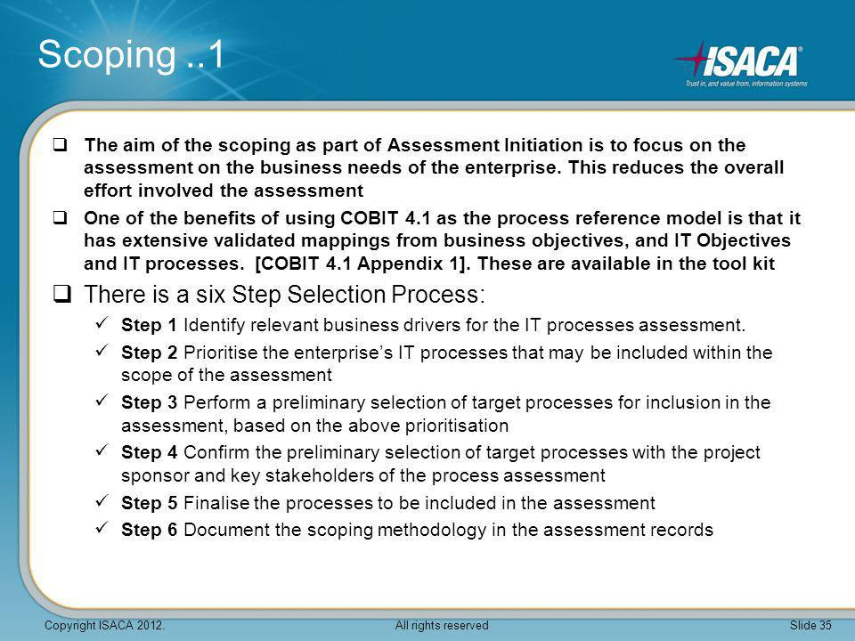 Scoping ..1 There is a six Step Selection Process: