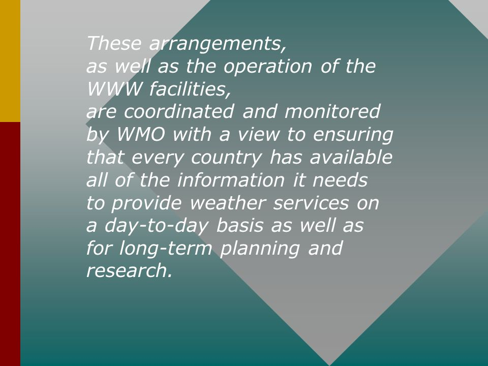 These arrangements, as well as the operation of the WWW facilities, are coordinated and monitored.