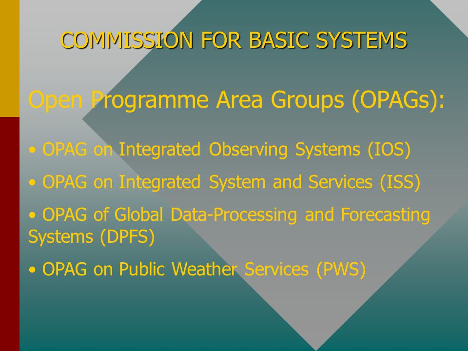 Open Programme Area Groups (OPAGs):