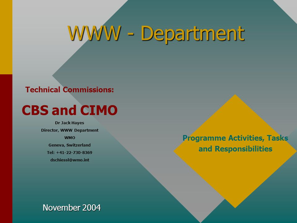 WWW - Department CBS and CIMO November 2004 Technical Commissions: