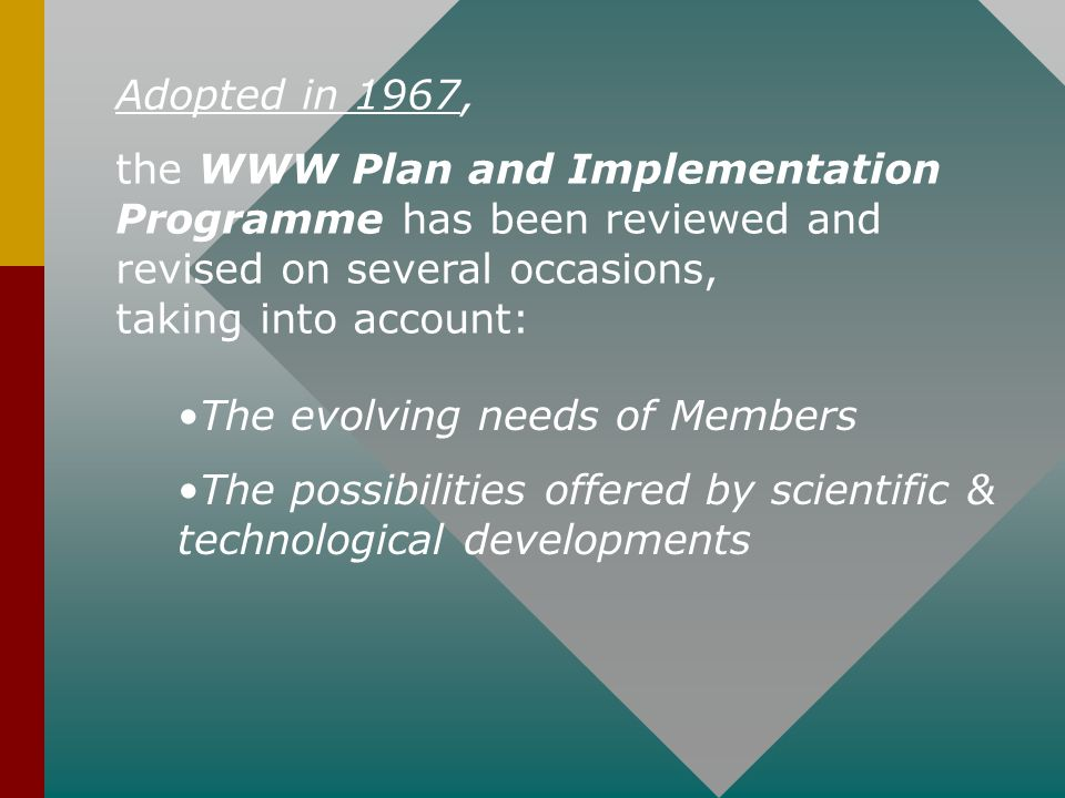 Adopted in 1967, the WWW Plan and Implementation Programme has been reviewed and revised on several occasions, taking into account: