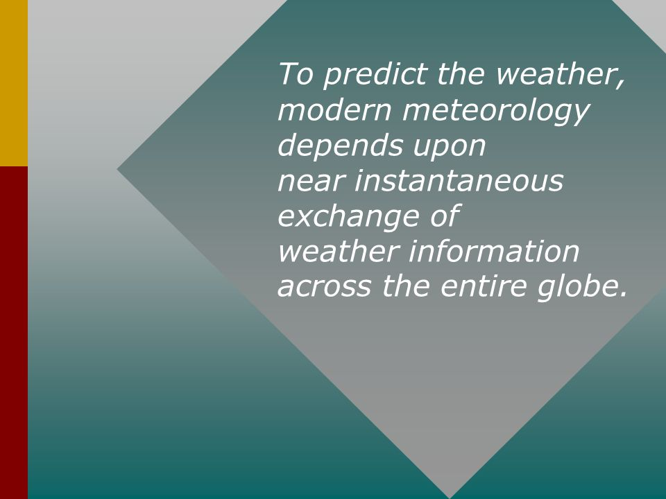 modern meteorology depends upon near instantaneous exchange of