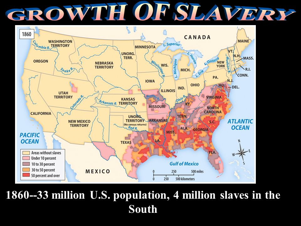 1860--33 million U.S. population, 4 million slaves in the South