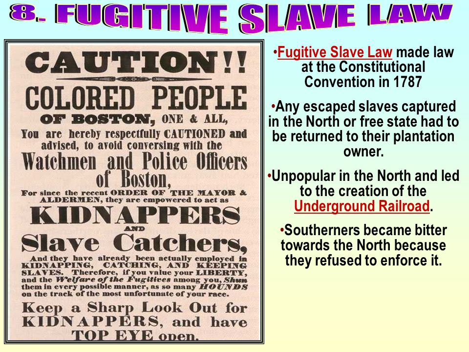 Fugitive Slave Law made law at the Constitutional Convention in 1787