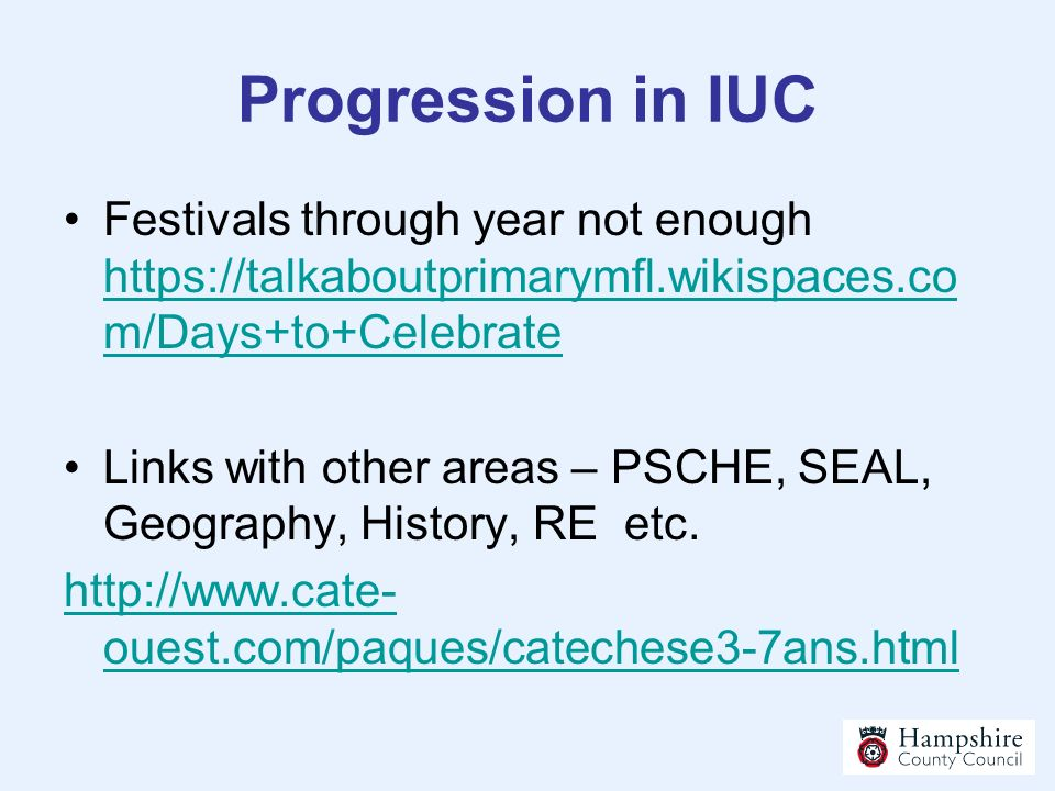 Progression in IUC Festivals through year not enough
